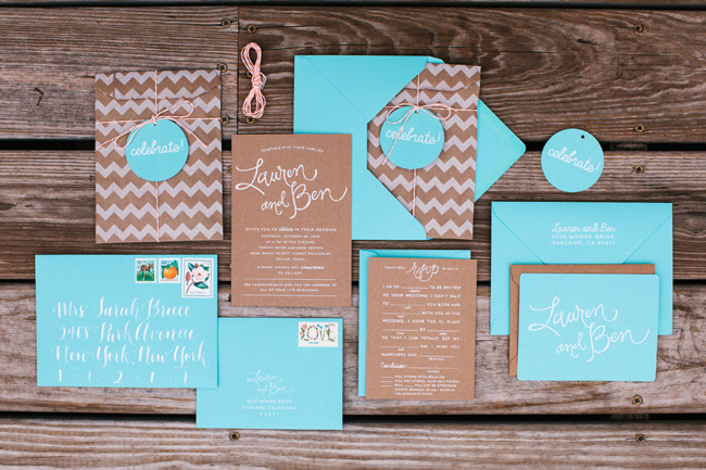 Blue Eye Brown Eye_Kraft and Aqua Chevron Invitation Suite