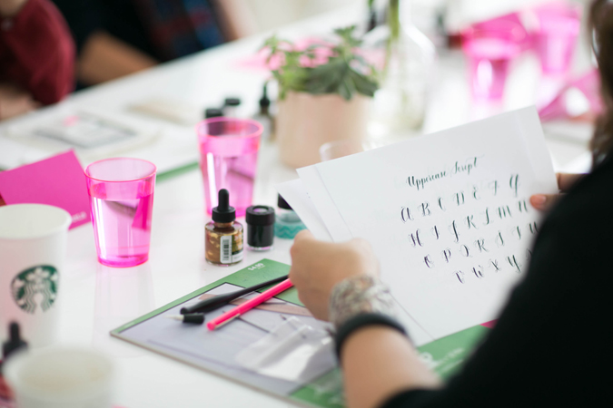 designlovefest_uppercase calligraphy class in gold