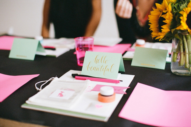 Anna Routh Photography_Brooklyn Calligraphy Class_Set Up