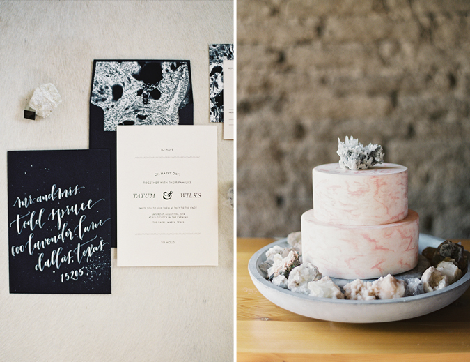 Marbled invitation and cake
